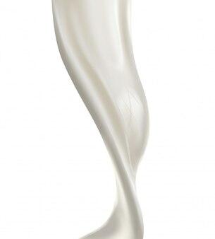Spruzzata di latte versando isolato su sfondo bianco.