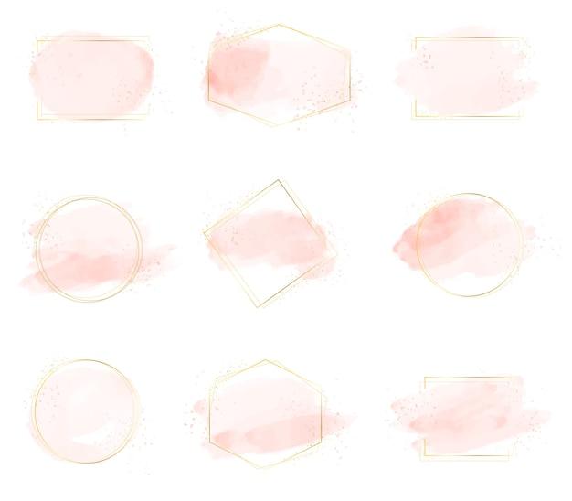 Spruzzata di pennellata acquerello rosa con cornice dorata di lusso e glitter
