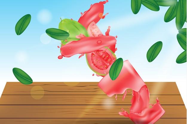 Spruzzata di succo di guava in un bicchiere con sfondo di natura