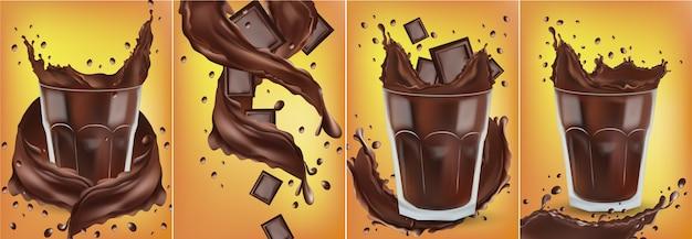 Spruzzata realistica del cioccolato 3d nel vetro trasparente con pezzi di cioccolato. schizzi di cioccolato fondente. bevanda di cioccolata calda, cacao, cocktail o caffè.