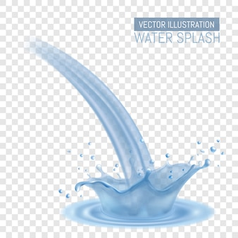 Spruzzata realistica dell'acqua. corona d'acqua e spray, onde sulla superficie