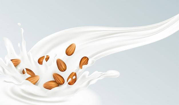 Spruzzata realistica di latte di mandorle su uno sfondo grigio. concetto di mangiare sano.
