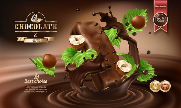 Spruzzi 3d di cioccolato fuso e latte con pezzi cadenti di tavolette di cioccolato.