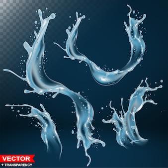Spruzzi d'acqua realistici scoppiano e ondeggiano