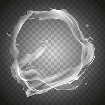 Spruzzi d'acqua trasparente e gocce d'acqua