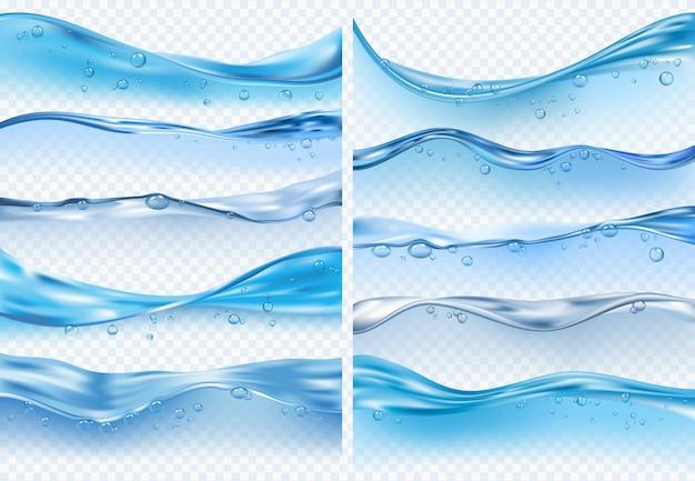Spruzzi realistici dell'onda. superficie di acqua liquida con bolle e schizzi di oceano o mare sfondi