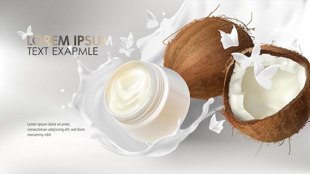 Spruzzo di cocco realistico per la pubblicità di prodotti cosmetici alla crema