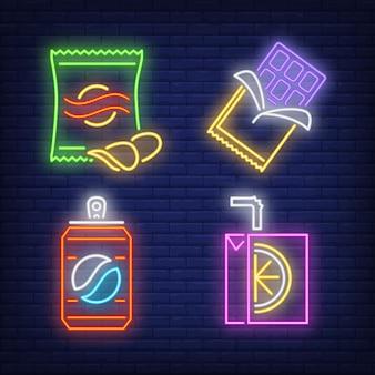 Spuntini e bevande per le insegne al neon della macchina del fornitore impostate