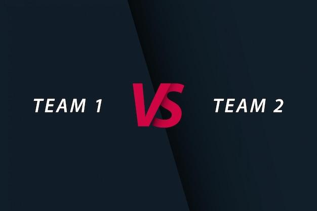 Squadra 1 di competizione sportiva contro squadra 2, illustrazione del modello.