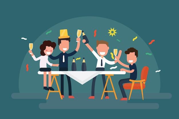 Squadra allegra di affari che celebra tavola con champagne