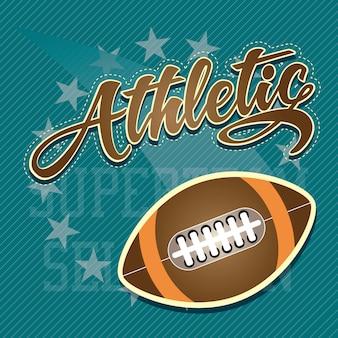 Squadra atletica di football americano sull'illustrazione blu di vettore del fondo