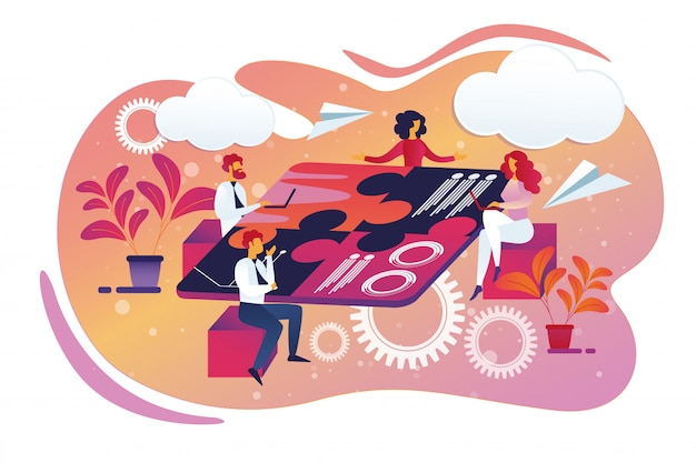 Squadra creativa di affari che si siede intorno al tavolo di puzzle