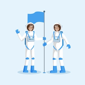 Squadra degli astronauti che dispone bandierina piana