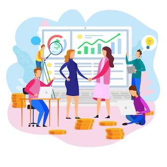Squadra della donna agita la strategia finanziaria del rapporto della mano