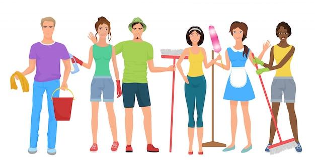 Squadra di addetti alle pulizie di uomini e donne