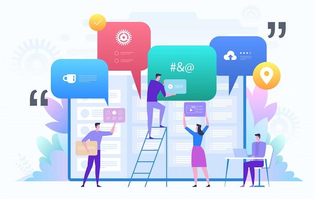 Squadra di affari che lavora al grande progetto. lavoro di squadra, comunicazione, interazione, processo aziendale