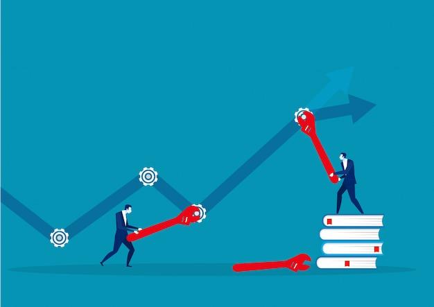 Squadra di affari e attrezzi di riparazione in avanti alla freccia