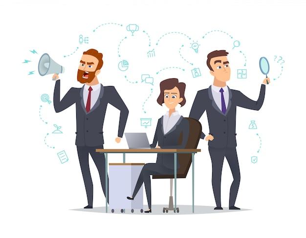 Squadra di affari. i responsabili dell'ufficio di successo che collegano le persone hanno collaborato con le immagini di concetto di idea di partenza degli oggetti di affari