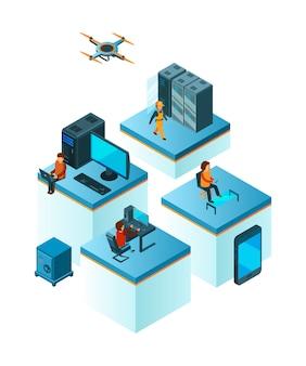 Squadra di affari isometrica. responsabili della gente di coworking che lavorano al concetto di affari della costruzione di gruppo di servizio della nuvola dello smartphone del computer portatile
