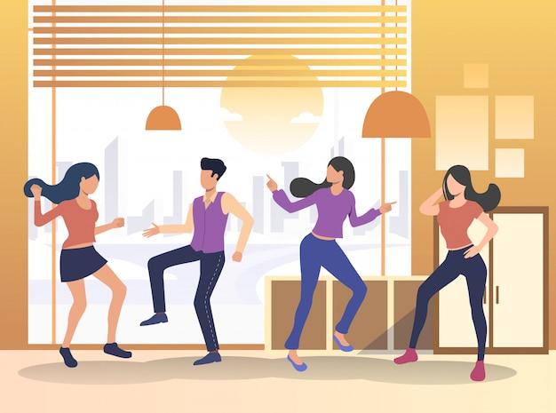 Squadra di amici che ballano e si divertono
