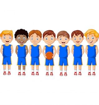 Squadra di bambini di pallacanestro del fumetto in uniforme