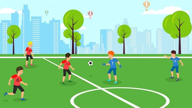 Squadra di bambini di vettore piatto partita di calcio della scuola.