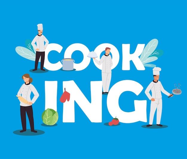 Squadra di chef con disegno dell'illustrazione degli elementi della cucina
