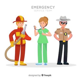 Squadra di emergenza in design piatto