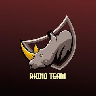Squadra di gioco di esports mascotte di rinoceronte