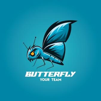 Squadra di gioco di esports mascotte farfalla