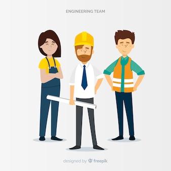 Squadra di ingegneria piatta al lavoro