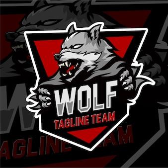Squadra di lupo distintivo del logo di gioco di esports