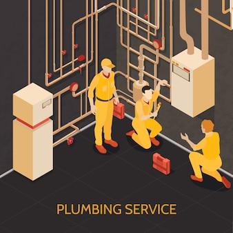 Squadra di servizio idraulico nella composizione isometrica di lavoro con manutenzione del sistema di riscaldamento della caldaia nel seminterrato