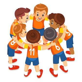 Squadra di sport di giovani ragazzi sullo stadio. giocatori di football in abbigliamento sportivo motivanti prima della partita. torneo di calcio giovanile per bambini. isolato