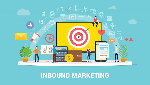 Squadra di strategia di concetto di marketing in entrata che lavora insieme