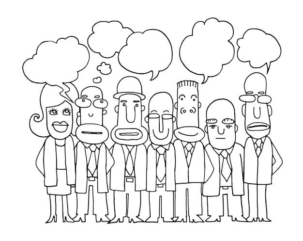 Squadra di uomini d'affari si levano in piedi e parlano nelle bolle di discorso