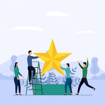 Squadra e concorrenza di affari, risultato, riuscito, sfida, illustrazione di vettore di concetto di affari