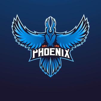 Squadra esport di design logo mascotte phoenix