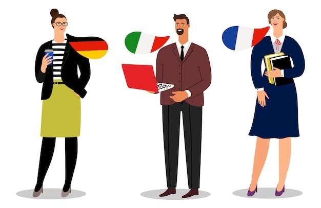 Squadra internazionale di affari su fondo bianco