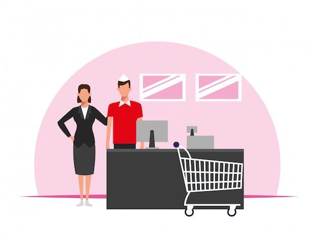 Squadra operai del supermercato
