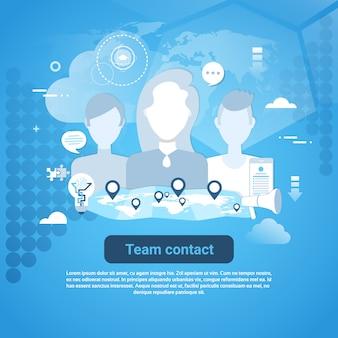 Squadra web banner con contatto con lo spazio della copia