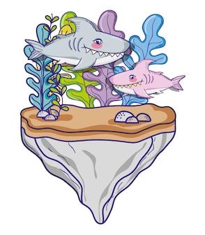 Squali nel cartone animato carino mare