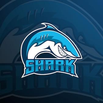 Squalo squadra e-sport logo della mascotte