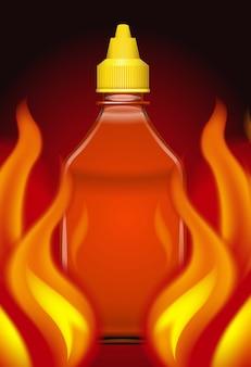 Sriracha hot chilli sauce on fire