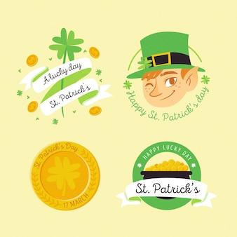 St disegnata a mano tema evento patricks per la raccolta di badge