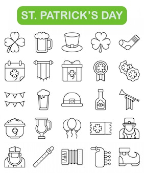 St. icone del giorno di san patrizio impostate in stile contorno