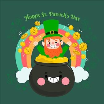 St piatta illustrazione di giorno di patrick con leprechaun