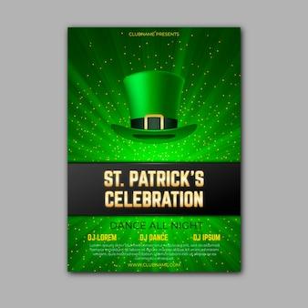 St realistica modello di poster di patrick's day