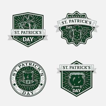 St vintage. collezione di badge patrick's day