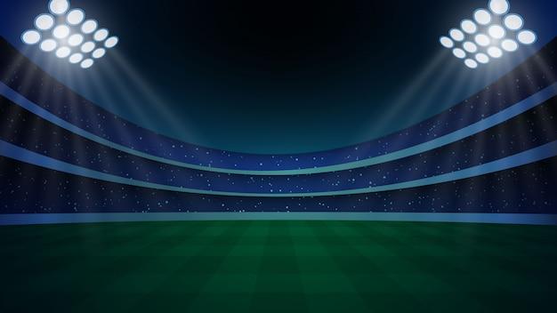 Stadio con illuminazione, erba verde e cielo notturno.
